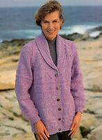 (817) Ladies Chunky Shawl Collar Jacket Knitting Pattern, 32-42''