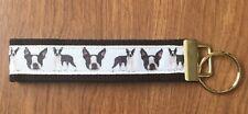 Boston Terrier wristlet key fob holder key chain zipper pull