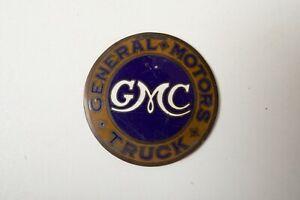 "Early GMC Radiator Enamel Emblem Badge (B1B) General Motors Truck 2 & 5/8ths"""