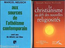 Lot de 4 livres sur la religion athéisme N. testament Jeanne d'Arc religiosités
