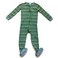 babyGap 3T Unisex Pajamas PJ Footed Sleeper Green Striped Snug Fit Zip Up Cotton