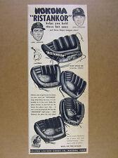 1954 Nokona Baseball Gloves Mitts 4 MLB Player Models vintage print Ad