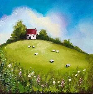 Original Oil Painting, Welsh Landscape by Jane Palmer Art hilltop farmhouse