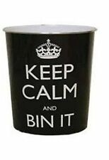 Black Keep Calm And Bin It Waste Paper Bin - 26cm x 25cm Approx - BLACK