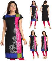 UK STOCK - Indian Black Designer Top Kurta Kurti Tunic Dress Women Shirt SC2403