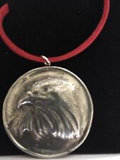 """Eagle On Disc TG69 Made In Solid Fine English Pewter On 18"""" Red Cord Necklace"""