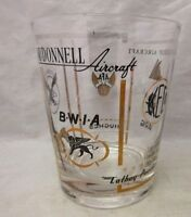Vintage tumbler bar glass with Airline Logo advertising
