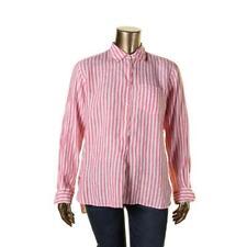 Lauren Ralph Lauren 5980 Womens Pink Striped Linen Button-Down Top XL BHFO