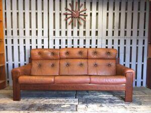 3 Seat Tan / Orange Leather Sofa Mid Century Vintage Solid Wood Frame Danish