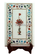 """15""""x10"""" White Marble Center Coffee Table Top Lapis Inlay Occasional Decor H2287"""