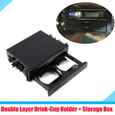 Double Layer Car Dash Trim Drink Cup Holder Storage Box Organizer Black Plastic