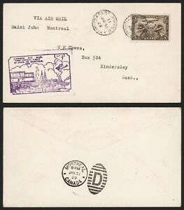 Canada 1929 - 1st Flight Air Mail Cover St John Montreal D393