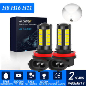 2x H8 H16 H11 LED Bulb DRL FogDriving Light Daytime Running Lamp Replacement Kit
