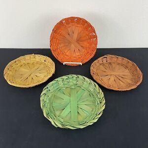 "VTG Bamboo Woven Wood Paper Plate Holder Boho Picnic EUC Fits 8 - 8.5"" Plates"