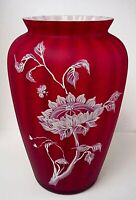 Fenton Glass Sunflowers On Amberina  Vase Connoisseur Collection 9 Family Sigs