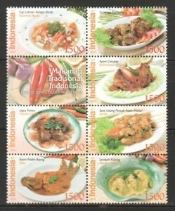 INDONESIA 2010 TRADITIONAL LOCAL FOODS BLOCK COMP. SET OF 7 STAMPS WITH LABEL