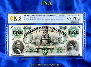 INA Louisiana Shreveport Citizens Bank $5 Civil War PCGS 67 PPQ Perfect Margins