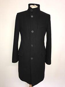HUGO BOSS - Mens Long BLACK WOOL COAT - UK 36-38 Reg - GORGEOUS Warm COAT