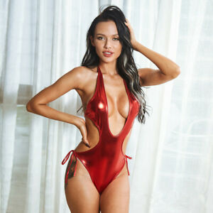 Stretch Faux Leather Erotic Lingerie Lace Up Halter Bikini Teddy Body S-XL W2238