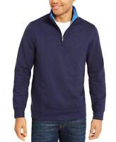 Club Room Mens Sweater Navy Blue Size Small S Solid Tech Fleece 1/4 Zip $49 #408