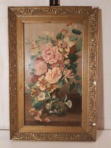 Ancienne nature morte , huile sur toile bouquet de fleurs XIX ème siècle