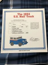 DANBURY Mint The 1954 U.S Mail Truck Jeep Willy's  Certificate Of TITLE
