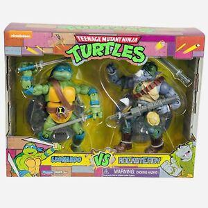 Teenage Mutant Ninja Turtles TMNT Leonardo vs Rocksteady Playmates 2 Pack Figure
