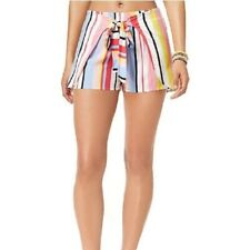 Bar III Bold Striped Swimsuit Cover Up Tie Shorts  Large  NWT! (D1)