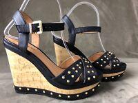 Call it Spring women's wedge gold studded sandals sz 7.5 light weight