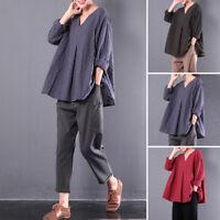 Womens Vintage Cotton Linen Blouse Shirt Flax 3/4 Sleeve Tunic Plaids Loose Tops