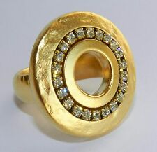 Designer Yellow Gold 24K Plated Round Hole Disc Ring&Clear Crystals Stones Sz 8