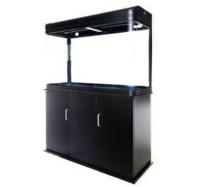 Aquarium Fish Tank with Cabinet - 190L Glass SMD LED Black White Pump Filter