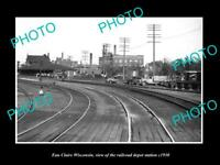 OLD LARGE HISTORIC PHOTO OF EAU CLAIRE WISCONSIN RAILROAD DEPOT STATION c1930
