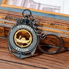Venezia Italia Keychain Venice Italy Rotatable Keyring Boat Anchor Bag Pendant