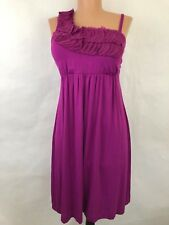 Soma Dress One Shoulder Empire Waist Padded Sleeveless Purple Stretch Ruffles