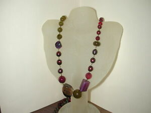 Assymetrical Red Green Purple Bronze Mixed Beaded Milano DP Necklace -36-42 I...