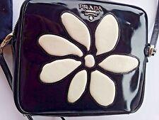 PRADA BLACK PATENT LEATHER WHITE FLOWER  CUTOUT CROSSBODY SHOULDER BAG PURSE