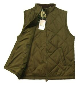 Barbour Men's Olive Green Finn Quilted Gilet Full Zip Vest
