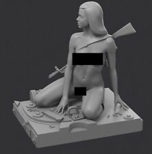 Resin Naked Woman Soldier on a Tank Base 1/35 Scale