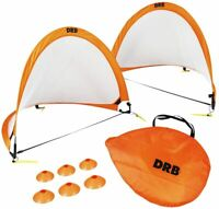 DRB Pro Foldable Pop Up Soccer Goal | 2 Net with Case, 6 Cones for Kids & Adults