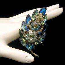 Vintage Blue Green Margarita Fruit Salad Rhinestones Brooch Pin Glass Marquise