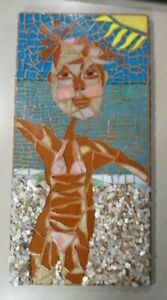 """Stained Glass Mosaic Picture / Piece Made /  """"Beach Bunny"""""""