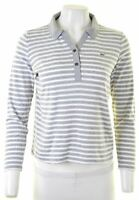 LACOSTE Womens Polo Shirt Long Sleeve Size 40 Medium Grey Striped Cotton  BE01