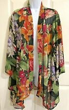Travel Elements Sheer Kimono Shawl Jacket 1X Swimsuit Cover Up Top Blouse Flower
