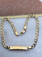 9ct 375 Genuine Solid Yellow Gold Lady&Maiden Curb ID Bracelet BRAND NEW