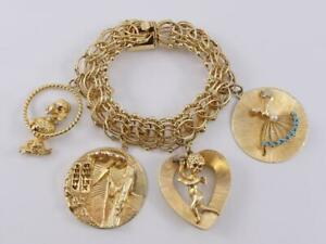 """14K yellow gold 7.5"""" CHUNKY heavy charm bracelet poodle Moses ballet cupid 77.8g"""