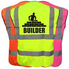 BUILDER HI VIS VIZ KIDS VEST JOKE CUSTOM WAISTCOAT CHILD YELLOW PINK ORANGE