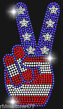4th of July Peace Sign Rhinestone Iron On Transfer Patriotic Applique Bling