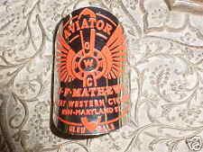 Aviator Bicycle Head Tube Badge Emblem Etched Brass Nickel Platted J.F. Mathews