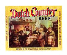 Dutch Country Beer Bottle Label Reading Pa